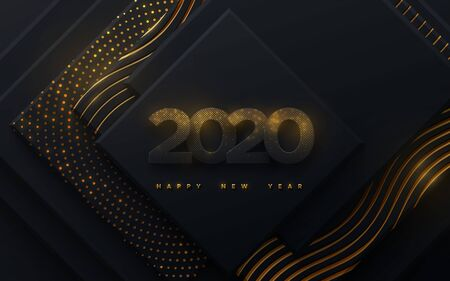 Happy New 2020 Year. Vector holiday illustration. Black paper numbers with golden glitters. Geometric background with shimmering patterns. Festive banner. Decoration element for poster or cover design Ilustração