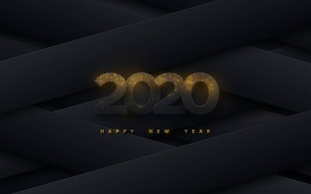 Happy New 2020 Year. Vector holiday illustration. Black paper numbers textured with golden glitters on geometric paper shapes background. Layered papercut decoration. Festive banner template