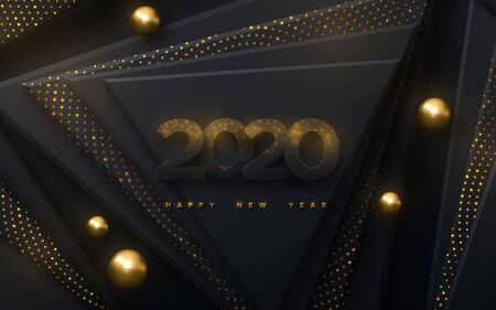 Happy New 2020 Year. Vector holiday illustration. Black paper numbers with golden glitters. Geometric background with triangles and spheres. Festive banner. Decoration for poster or cover design