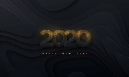 Happy New 2020 Year. Vector holiday illustration. Black paper numbers textured with glittering golden particles on wavy paper shapes background. Layered papercut decoration. Festive banner template