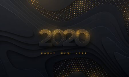 Happy New 2020 Year. Vector holiday illustration. Paper 3d numbers with shimmering glitters on black abstract topography background. Festive event banner. Geometric wavy shapes. Poster or cover design