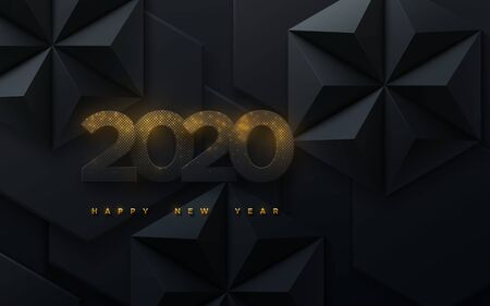 Happy New 2020 Year. Vector holiday illustration. Black paper numbers with golden glitters. Geometric background with hexagonal shapes. Festive banner. Decoration element for poster or cover design Ilustração