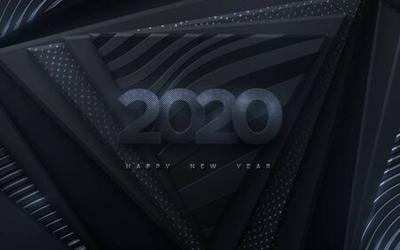 Happy New 2020 Year. Vector holiday illustration. Paper 3d numbers with silver glitters on black abstract background. Festive banner. Decoration element for poster or cover design