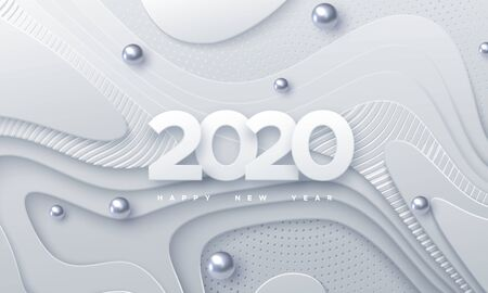 Happy New 2020 Year. Vector holiday illustration. Paper 3d numbers on white abstract topography background. Festive event banner. Geometric wavy shapes. Decoration element for poster or cover design