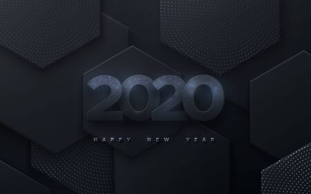 Happy New 2020 Year. Vector holiday illustration. Black paper numbers with silver glitters. Geometric background with hexagonal shapes. Festive banner. Decoration element for poster or cover design
