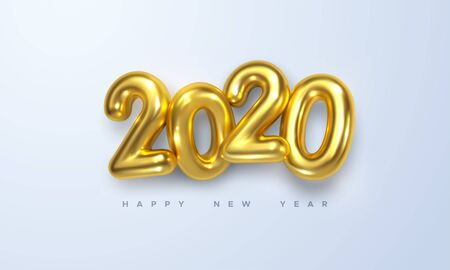 Happy New 2020 Year. Holiday vector illustration of golden metallic numbers 2020. Realistic 3d sign. Festive poster or banner design