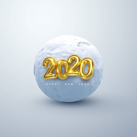 Happy New 2020 Year. Vector illustration of golden 2020 numbers and realistic snow ball. Decorative winter element. Frozen cold sphere. Festive new year holiday ornament
