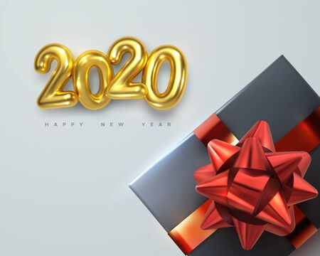 2020. Happy New Year. Gift box with red glossy bow and ribbons. Vector new year illustration with golden metallic 2020 numbers and holiday decoration. Festive ornament Ilustração