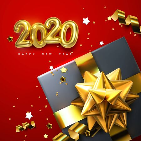 2020. Happy New Year. Gift boxes with golden glossy bows, ribbons and sparkling tinsel. Vector new year illustration with gold metallic 2020 numbers and holiday decoration. Festive ornament
