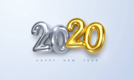 Happy New 2020 Year. Holiday vector illustration of silver and golden metallic numbers 2020. Realistic 3d sign. Festive poster or banner design