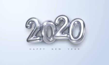 Happy New 2020 Year. Holiday vector illustration of silver metallic numbers 2020. Realistic 3d sign. Festive poster or banner design Stock Illustratie