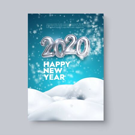 Happy New 2020 Year. Holiday blue poster template or festive party invitation design. Vector illustration. Winter decoration with silver numbers, blizzard, snowflakes and snowdrifts