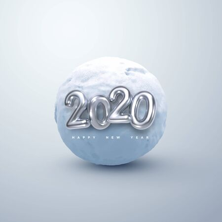 Happy New 2020 Year. Vector illustration of silver 2020 numbers and realistic snow ball. Decorative winter element. Frozen cold sphere. Festive new year holiday ornament
