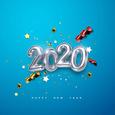 Realistic 2020 silver numbers and festive confetti, stars and streamer ribbons on blue background. Vector holiday illustration. Happy New 2020 Year. New year ornament. Decoration element with tinsel Ilustração