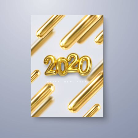 Happy New 2020 Year. Vector holiday illustration of golden 3d geometric primitives and 2020 bubble numbers. Layout design. Trendy cover template