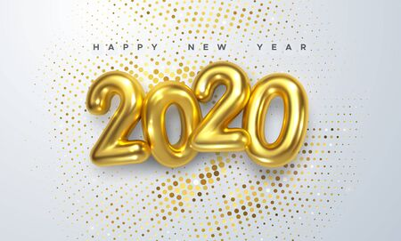 Happy New 2020 Year. Holiday vector illustration of golden metallic numbers 2020 and sparkling glitters pattern. Realistic 3d sign. Festive poster or banner design Ilustração