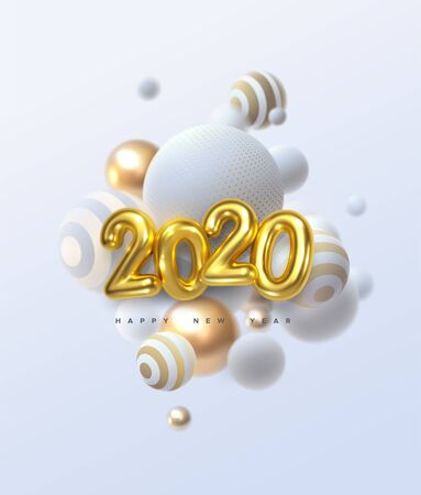 Happy New 2020 Year. Holiday vector illustration of golden metallic numbers 2020 and abstract balls or bubbles. Realistic 3d sign. Festive poster or banner design. Party invitation