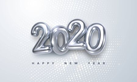 Happy New 2020 Year. Holiday vector illustration of silver metallic numbers 2020 and radial halftone pattern. Realistic 3d sign. Festive poster or banner design