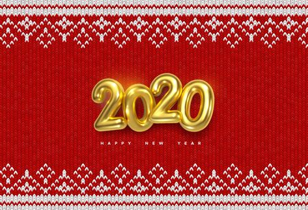 Happy New 2020 Year. Holiday vector illustration of golden metallic numbers 2020 on red knitted background. Realistic sign. Yarn fabric with traditional ornament. Festive poster or banner design