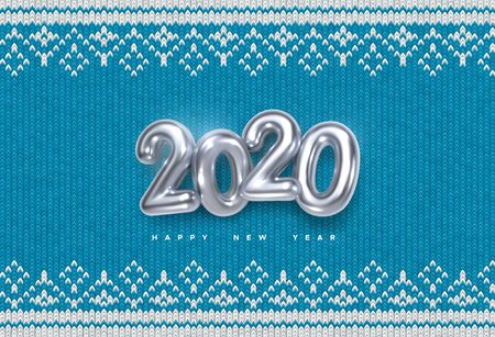 Happy New 2020 Year. Holiday vector illustration of silver metallic numbers 2020 on blue knitted background. Realistic sign. Yarn fabric with traditional ornament. Festive poster or banner design