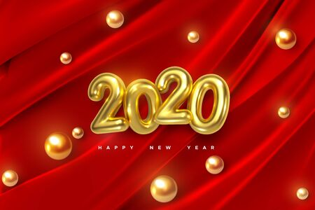 Happy New 2020 Year. Vector holiday illustration of golden numbers on red draped fabric background with shiny spheres or pearls. Festive event banner. Decoration element for poster or cover design Ilustração