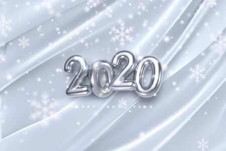 Happy New 2020 Year. Vector holiday illustration of silver numbers on white draped fabric background with falling snowflakes texture. Festive event banner. Decoration element. Poster or cover design