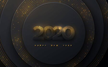 Happy New 2020 Year. Vector holiday illustration. Black paper numbers with golden glitters. Geometric background with shimmering particles. Festive banner. Decoration for poster or cover design