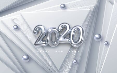 Happy New 2020 Year. Vector holiday illustration. Silver 3d numbers on white abstract background. Festive event banner. Geometric triangle shapes, spheres. Decoration element. Poster or cover design