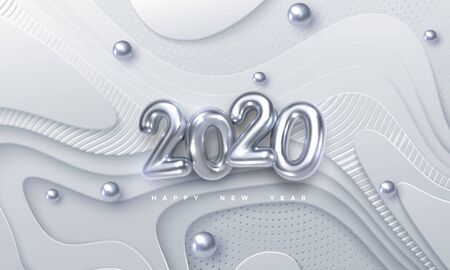 Happy New 2020 Year. Vector holiday illustration. Silver 3d numbers on white abstract topography background. Festive event banner. Geometric wavy shapes. Decoration element for poster or cover design