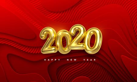 Happy New 2020 Year. Vector holiday illustration. Golden numbers 2020. Red geometric layered background. Festive event banner. Paper shapes with engraved wavy pattern. Poster or cover design Ilustração