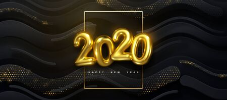 Happy New 2020 Year. Vector holiday illustration of golden numbers on black wavy strokes background textured with glittering particles