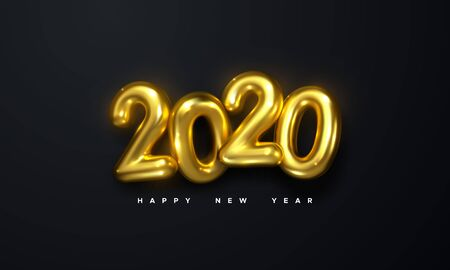Happy New 2020 Year. Holiday vector illustration of golden metallic numbers 2020 on black background. Realistic 3d sign. Festive poster or banner design Stock Illustratie