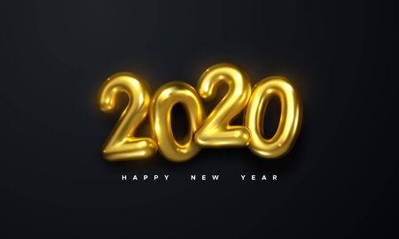 Happy New 2020 Year. Holiday vector illustration of golden metallic numbers 2020 on black background. Realistic 3d sign. Festive poster or banner design Ilustração