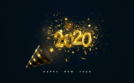 Golden 2020 numbers, party popper cone and glittering confetti isolated on black. Vector festive illustration. Holiday decoration with sparkling tinsel particles. Happy New Year