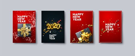 Vector illustration of Happy New Year posters or flyers set. Holiday banners with metallic 2020 numbers, gift box, snow, tinsel and confetti. Winter festive decoration. New Year party invitation