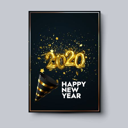 Happy New 2020 Year. Holiday poster template or festive party invitation design. Vector illustration. New Year event decoration of sparkling golden confetti particles, stars, party popper and numbers