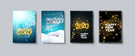 Vector illustration of Happy New Year posters or flyers set. Holiday banners with metallic 2020 numbers, party popper, snow, tinsel and confetti. Winter festive decoration. New Year party invitation