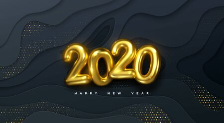 Happy New 2020 Year. Vector holiday illustration. Golden numbers on black wavy paper shapes background textured with glittering particles. Layered papercut decoration. Festive banner template