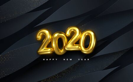 Happy New 2020 Year. Vector holiday illustration. Golden numbers on black paper shapes background textured with glittering particles. Layered papercut decoration. Festive banner template Stock Illustratie
