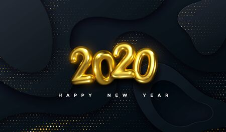 Happy New 2020 Year. Vector holiday illustration. Golden 3d numbers on black abstract topography background. Festive event banner. Geometric wavy shapes. Decoration element for poster or cover design