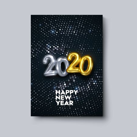 Happy New 2020 Year. Vector holiday illustration. Black cover with golden numbers and silver sparkling glitters texture. Festive banner design. New Year cover layout. Brochure or invitation template