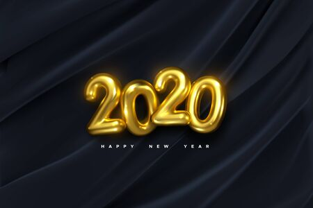 Happy New 2020 Year. Vector holiday illustration of golden numbers on black draped fabric background. Festive event banner. Decoration element for poster or cover design