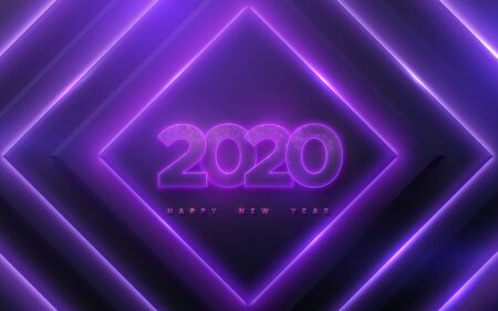 Happy New 2020 Year. Vector holiday illustration. Neon glowing numbers textured with glittering particles on geometric neon lights background. Festive banner. Decoration for poster or cover design Stock Illustratie