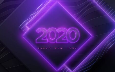 Happy New 2020 Year. Vector holiday illustration. Neon glowing numbers textured with glittering particles. Geometric square shapes background. Festive banner. Decoration for poster or cover design