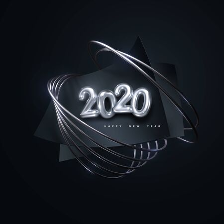 Happy New 2020 Year. Festive party sign. Vector holiday illustration. Silver 3d numbers 2020. Black paper sheets with silver ring. Holiday banner design. Cover or poster template