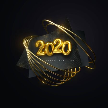 Happy New 2020 Year. Vector holiday illustration. Golden 3d numbers 2020. Black paper sheets with shimmering glitters and golden ring. Festive event banner. Poster or cover design