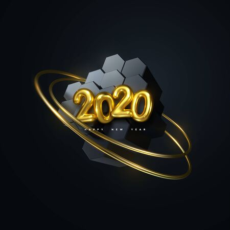 Happy New 2020 Year. Vector holiday illustration. Golden 3d numbers 2020. Black hexagonal shapes with golden rings. Festive event banner. Poster or cover design