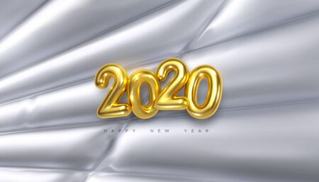 Happy New 2020 Year. Vector holiday illustration of golden numbers 2020 on white inflated fabric background. Festive event banner. Decoration element for poster or cover design