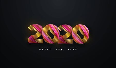 Happy New 2020 Year. Vector holiday illustration. Colorful layered numbers 2020 isolated on black background. Festive event banner. Decoration element for poster or cover design