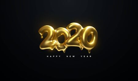 Happy New 2020 Year. Holiday vector illustration of golden metallic numbers 2020 on black background. Melted gold characters. Realistic 3d sign. Festive poster or banner design Çizim
